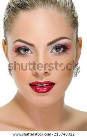 Sexy woman with red lips on white - stock photo
