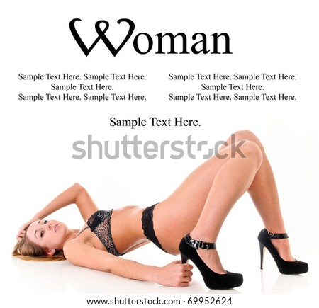 Sexy Woman with Text Space Above - stock photo