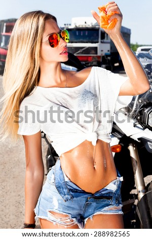 Sexy Woman Worker Washing Cars Alloy Stock Photo Edit Now
