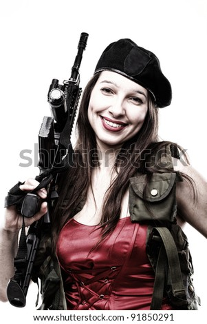 Sexy women - Girl holding an Assault Rifle, isolated on white background - stock photo