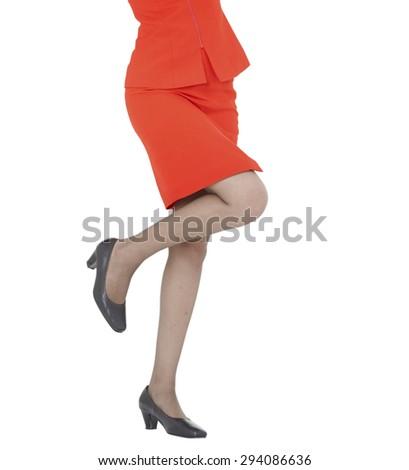 sexy women legs, red skirt - stock photo