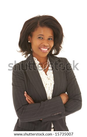 Sexy young adult african businesswoman in a business suit on a white background. NOT ISOLATED