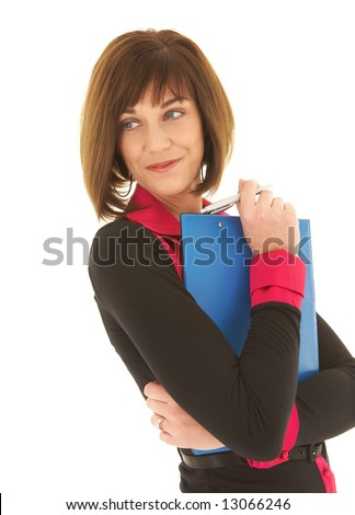 Sexy young adult Caucasian businesswoman in a red and black office outfit against a white background holding blue clipboard and pen. NOT ISOLATED