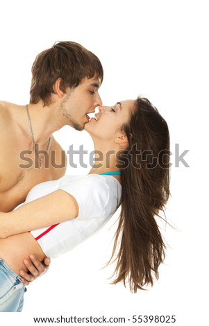 sexy young couple before kiss isolated on white - stock photo