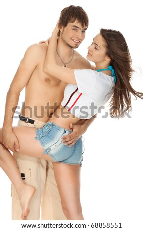 sexy young couple isolated on white - stock photo