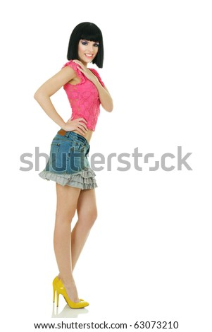 Sexy young fashionable woman posing - stock photo