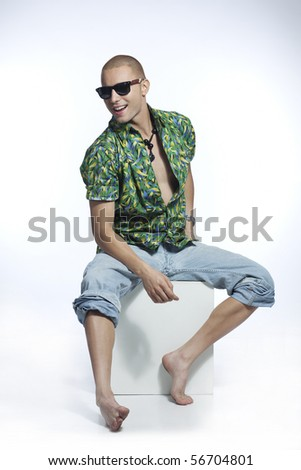 sexy young man - stock photo