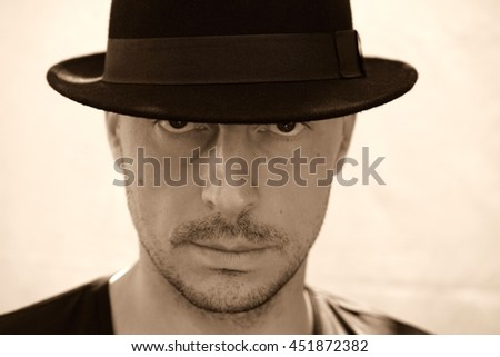 Sexy young man with hat  / Handsome male / Midlle age  - stock photo