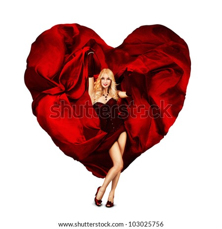 Sexy Young Woman Dancing with Silk Valentine Heart - stock photo
