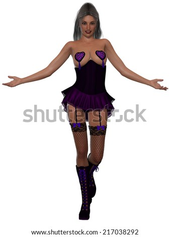 Sexy young woman in corset - stock photo