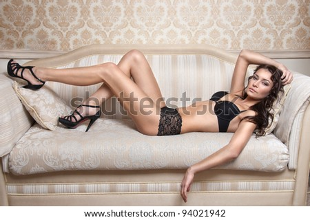 sexy young woman in  lingerie - stock photo