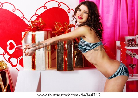 Sexy young woman in lingerie. Valentines day - stock photo