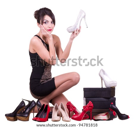 Sexy young woman with beautiful shoes isolated on white background.