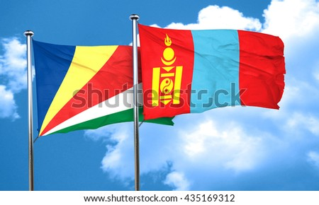 seychelles flag with Mongolia flag, 3D rendering