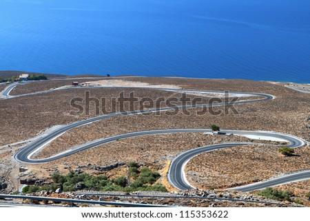 Sfakia area at south Crete in Greece. Coast of Libyan sea - stock photo