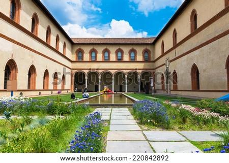 Sforza Castle (Castello Sforzesco) in Milan, Italy - stock photo