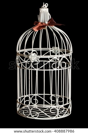 Shabby chic bird cage isolated on black background - stock photo