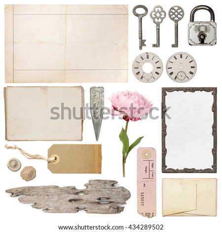 shabby chic - variety of decorative vintage objects - stock photo
