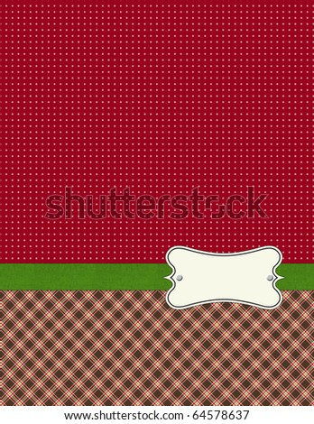 Shabby Patterns double with green ribbon - stock photo