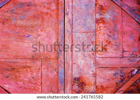 shabby rusty metal background with cracked paint and aged by time brutal pattern - stock photo