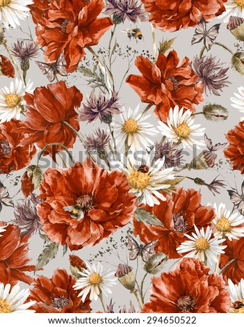 Shabby Watercolor Vintage Floral Seamless Pattern with Blooming Red Poppies Chamomile Ladybird and Daisies Cornflowers Bumblebee Bee and Butterflies, Watercolor illustration. - stock photo