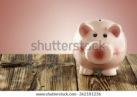 shabby wooden desk and pig