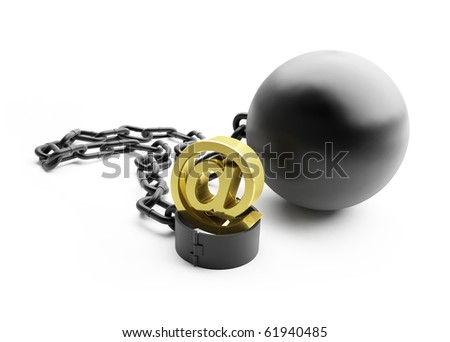 shackle mail spam on a white background - stock photo