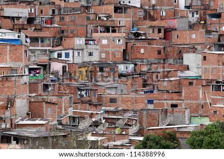Shacks in the favellas,a poor neighborhood in Sao Paulo, big city in brazil - stock photo