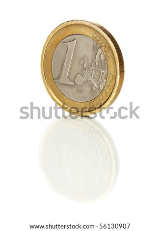 shaddy coin 1 euro isolated on white background - stock photo