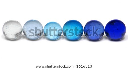 Shades of Blue Marbles - stock photo