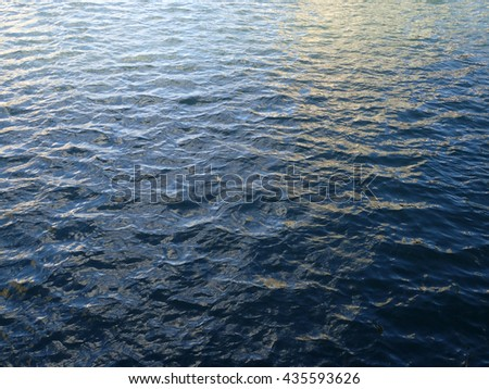 Shades of Blue Ocean Water ripples off coast of Oahu reflecting light.  Great for backgrounds textures. - stock photo