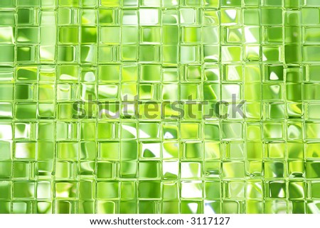 Shades of green glass blocks