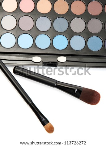 shadow kit with brushes for make-up isolated on white - stock photo