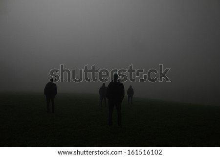 shadow of a group of people on a meadow in the night