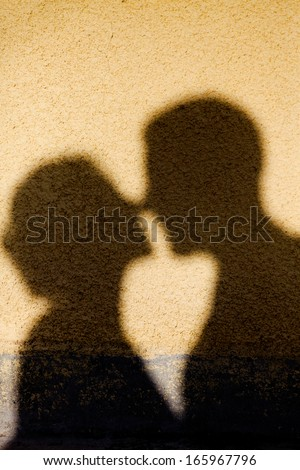 Shadow of a kiss - stock photo
