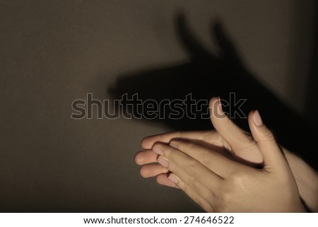 Shadow of female hands forming animal face on dark background