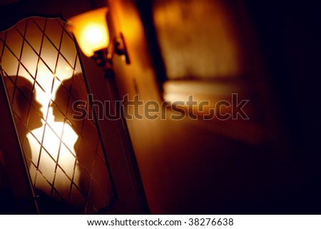 shadow of the bride and groom - stock photo