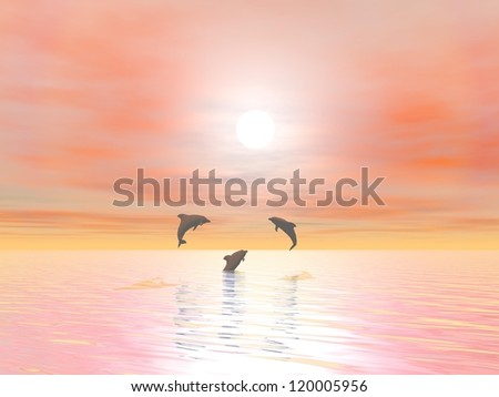 Shadow of three small dolphins jumping over the ocean by sunset - stock photo