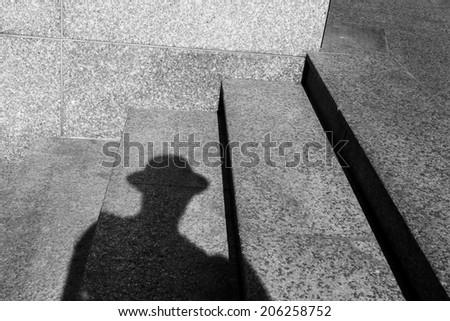 shadow portrait - stock photo