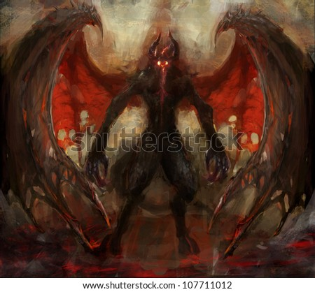 shadow rising from the hell - stock photo