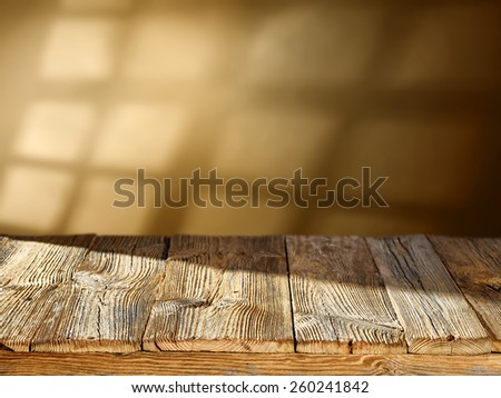 shadow space and desk of wood of free space  - stock photo