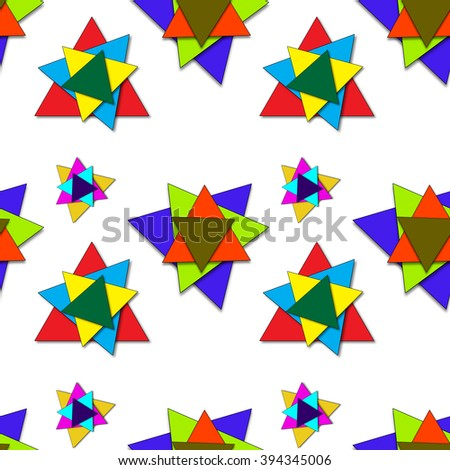 shadowed triangles pattern, abstract seamless texture, art illustration, image contains transparency