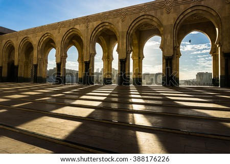 Shadows from Hassan II Mosque - stock photo