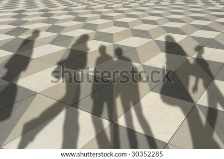 shadows of busy people - stock photo