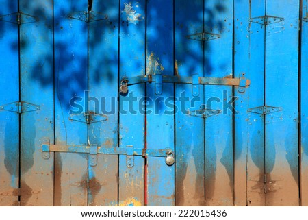 Shadows of leaves falling on an old style blue color wooden folding doors of a closed shop. - stock photo