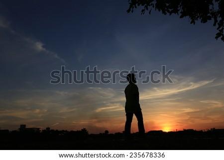 Shadows running - stock photo