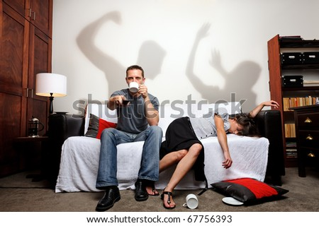 Shadows showing what just happened between the couple, a domestic abuse concept - stock photo