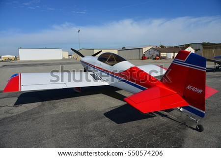 SHAFTER, CA - JANUARY 6, 2017: This sleek and fast RV-4 is a homebuilt aircraft and has an experimental license.