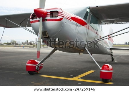 SHAFTER, CALIFORNIA - MARCH 14, 2006: This vintage two-place personal aircraft is a Cessna 140, esteemed by private pilots in the decades of the 1950s and 1960s. - stock photo