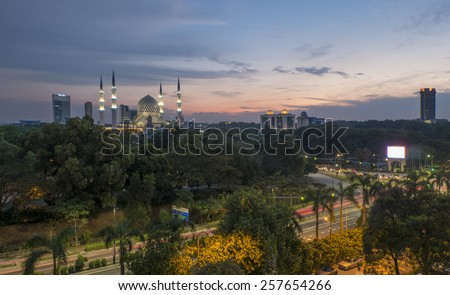Shah Alam City at Dusk - stock photo